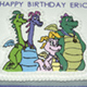 Character plaque on cake
